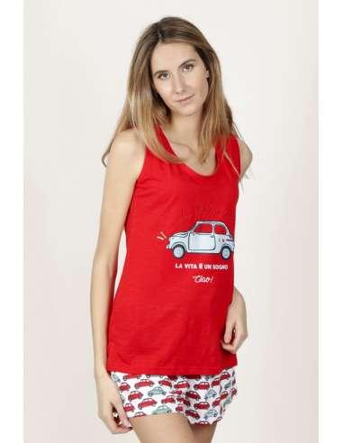 Pijama mujer tirantes ROJO